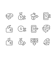Lined Money Moving Icons vector image