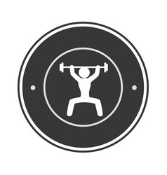 Monochrome circular frame with man weightlifting vector