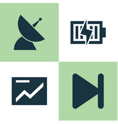 Music icons set collection of finish satellite vector