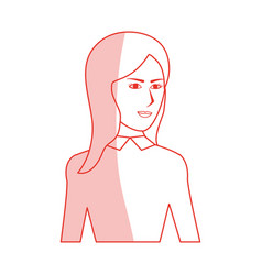 Red silhouette shading cartoon half body woman vector