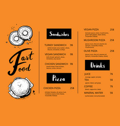 restaurant menu template with food sketches vector image