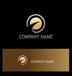 round loop arrow gold company logo vector image