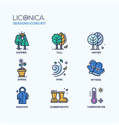 Seasons - coloured modern single line icons set vector