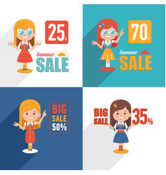 set of sale banners with character cute girl vector image