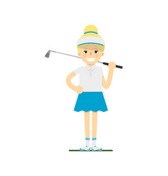 Smiling female golf player with golf club vector