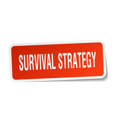 Survival strategy square sticker on white vector