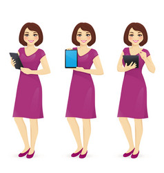 Woman in dress with tablet vector