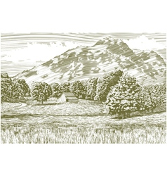 Woodcut barn and mountain landscape vector