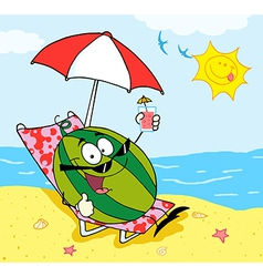 Watermelon holding a glass with juice on the beach vector