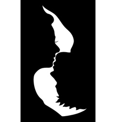 Silhouette of kissing couple vector