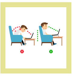 Correct sitting laptop use position vector
