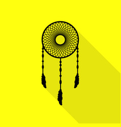 Dream catcher sign black icon with flat style vector