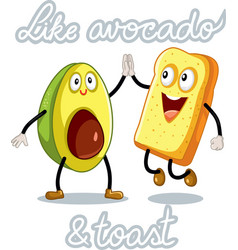 Avocado and toast funny characters vector