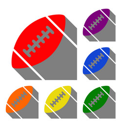 American simple football ball set of red orange vector
