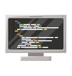 Realistic silhouette of lcd monitor with screen vector