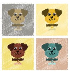 Assembly flat shading style icons pet dog vector