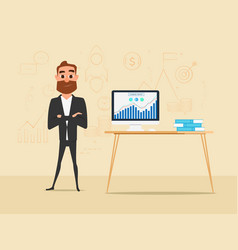 Businessman crossed his arms with business vector