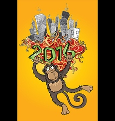 2016 year of the monkey and cartoon city vector