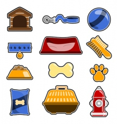 Dog object icon set vector