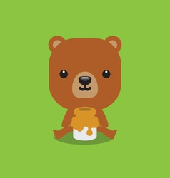 Cute bear with honey vector