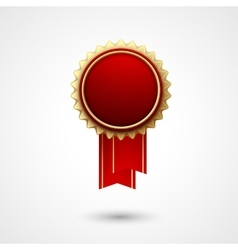 Red color award badge and ribbon premium vector