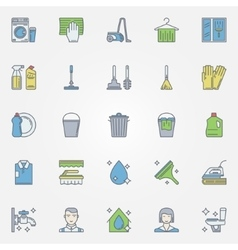 Cleaning colorful icons vector