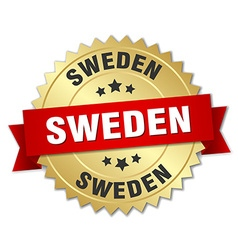 Sweden round golden badge with red ribbon vector
