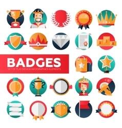 Badges ribbons awards icons set vector image vector image