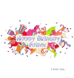 Birthday greeting card design with doodle flowers vector image vector image