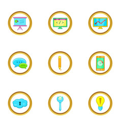Business infographic icons set cartoon style vector
