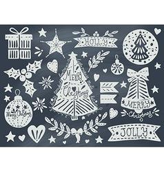 Christmas grunge set on blackboard vector image