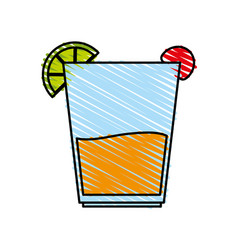 color crayon stripe image cartoon glass cup of vector image