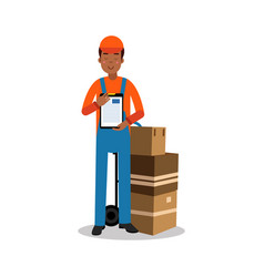 delivery man holding delivering and documents vector image vector image