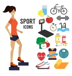 Fitness woman sport infographic icons vector