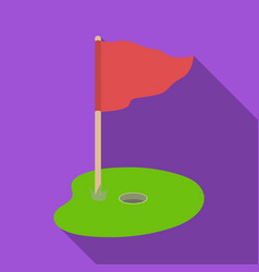 Flag and golf coursegolf club single icon in flat vector