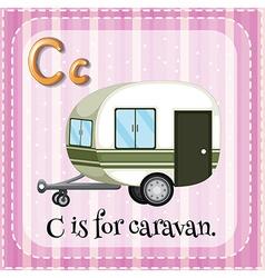 Flashcard letter c is for caravan vector