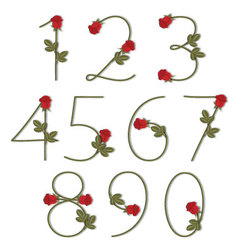 Floral alphabet red roses with shadow from 0 to 9 vector
