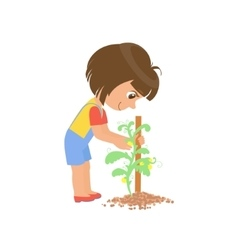 Girl taking care of a plant vector