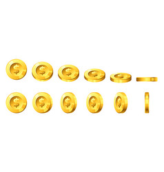 golden coins for animation vector image