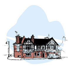 Hand drawn english house townhouse urban sketch vector