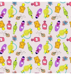 Hand drawn perfume bottles pattern vector image vector image