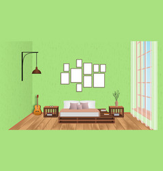 Interior of living room with empty frames guitar vector