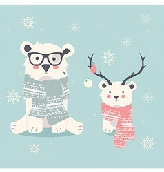 Merry christmas postcard with two polar bears vector