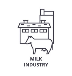 milk industry line icon outline sign linear vector image