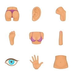 Part of body icons set cartoon style vector image
