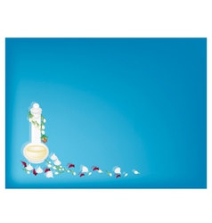 Perfume and soft prepared chalk on blue background vector