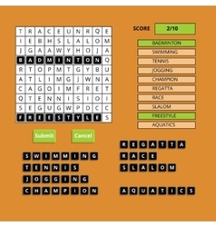 Puzzling words game user interface ui vector