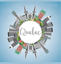 Quebec skyline with gray buildings blue sky and vector