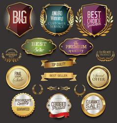 Retro vintage golden labels sale collection vector