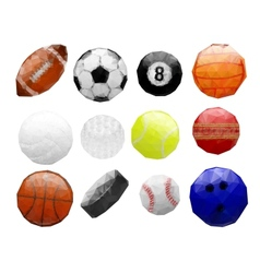 Set of abstract polygonal sports balls vector